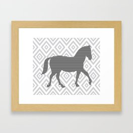 Horse - Abstract geometric pattern - gray, black and white. Framed Art Print