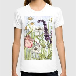 Lady Slipper Orchid Woodland Wildflower Watercolor T-shirt