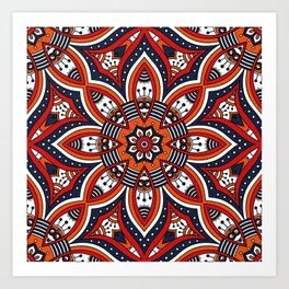 Painterly Nature Boho Floral Mandala Art Print