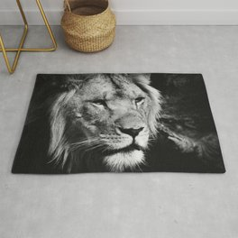 African Lion Black and White Photographic Print Rug