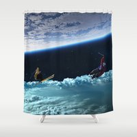 skiing Shower Curtains featuring Skiing by Cs025