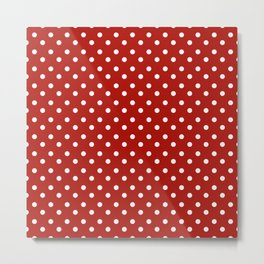 White & Red Navy Polkadot Pattern Metal Print