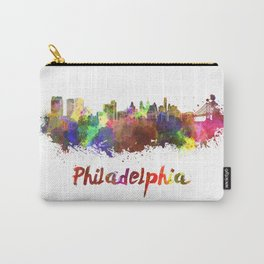 Philadelphia skyline in watercolor Carry-All Pouch