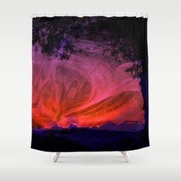 Fiery fractal sunset Shower Curtain