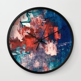 Bali: a vibrant, colorful abstract in blue, green, and pink/red Wall Clock