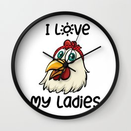 Farm Animal Love Chicken Farmer Gifts Wall Clock