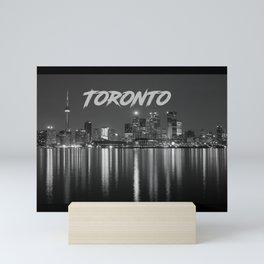 Toronto Canada Nighttime Skyline over Water Black and White Mini Art Print
