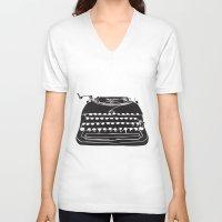 typewriter V-neck T-shirts featuring Typewriter  by Gemma Bullen Design