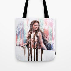 Beside the Wall She Stood Tote Bag