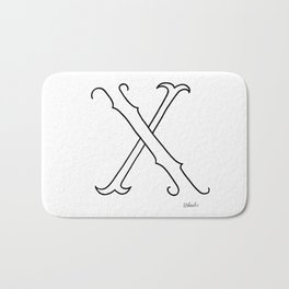 X- Letter Colletion White Bath Mat