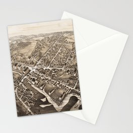 Vintage Pictorial Map of Medford Massachusetts (1880) Stationery Cards