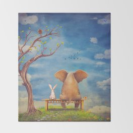Elephant and rabbit sit on a bench on the glade Throw Blanket