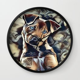 The Blue Eyed Pit bull Puppy Wall Clock