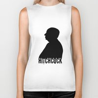 hitchcock Biker Tanks featuring Alfred Hitchcock by Silvio Ledbetter