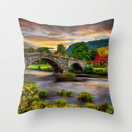 Llanrwst Bridge Throw Pillow