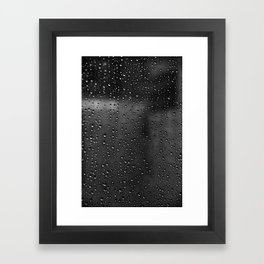 Black and White Rain Drops; Abstract Framed Art Print