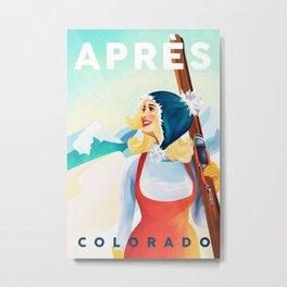"""Apres Ski Colorado"" Cool Vintage Pinup Girl Skiing Design Metal Print"