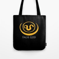 stargate Tote Bags featuring False God. Inspired by Stargate SG1 - The symbol of Apophis as worn by Teal'c by hypergeek