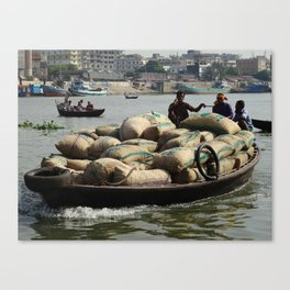 Transporting goods on the river in Bangladesh Canvas Print