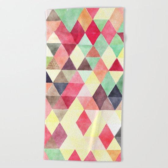 Retro Triangles Pattern 02 Beach Towel