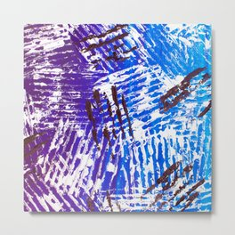 Abstract Acrylic Artist Painting Tribal Purple and Blue Claws Metal Print