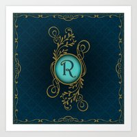monogram Art Prints featuring Monogram R by Britta Glodde