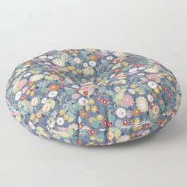 Colorful flowers on a denim background. Floor Pillow