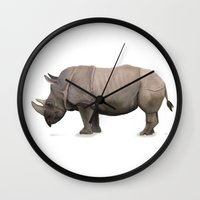 rhino Wall Clocks featuring Rhino by Mel Hampson