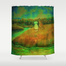 Dogs on hill side water view Shower Curtain