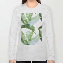 Tropical Leaves Green And Blue Long Sleeve T-shirt
