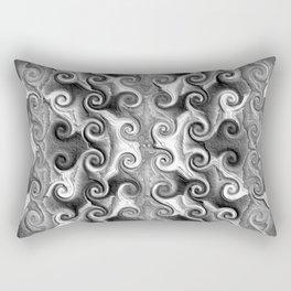 Black White Seamless Wave Spiral Abstract Pattern Rectangular Pillow