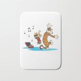 calvin and hobbes dancing with music Bath Mat