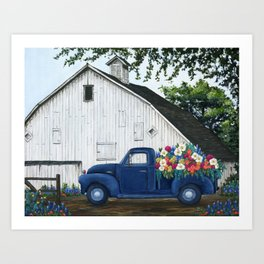 Flower Farm Truck Art Print