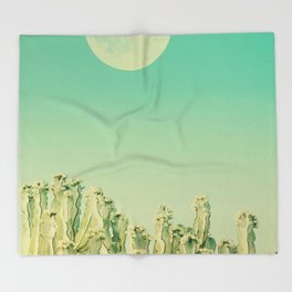 Moon over Cacti Throw Blanket