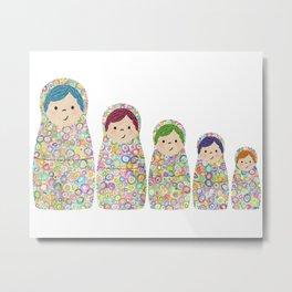 Rainbow Matryoshka Nesting Dolls Metal Print