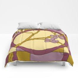 Lilac modern art nouveau flowers Comforters