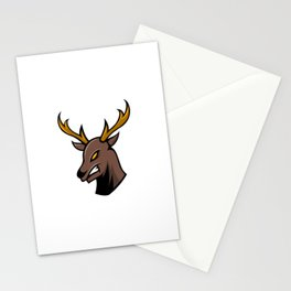 Angry Deer Sport Gaming Esport Logo Template With Long Horn Stationery Cards
