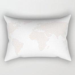 World Map Dots Rose Gold Bronze Copper Rectangular Pillow