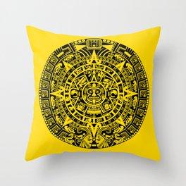Mayan Calendar // Yellow Throw Pillow