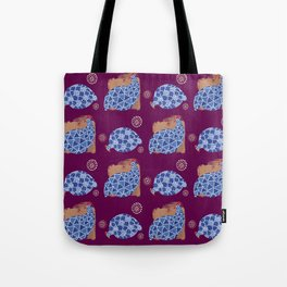 blue birds pattern on gold and purple Tote Bag