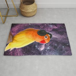 Bird Listening to Music in Outer Space Rug
