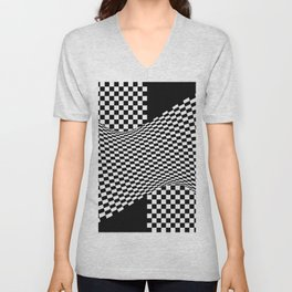 black white Unisex V-Neck