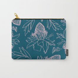Tropical Ginger Plants in Coral + Dark Teal Green Carry-All Pouch