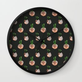 Cacti Black Wall Clock