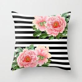 Pink Peonies Black Stripes Throw Pillow