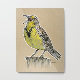 State Bird Series: Kansas - Meadowlark Metal Print