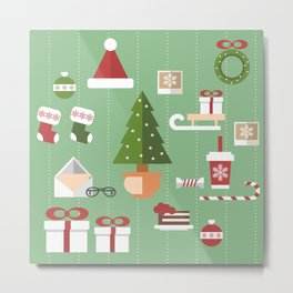 Christmas objects drawings on green bacgkround Metal Print