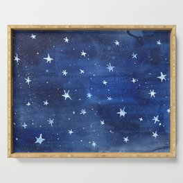 Midnight Stars Night Watercolor Painting by Robayre Serving Tray