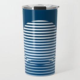 Optical Hypnotic Illusion 2 - Beach Cottage Nautical Indigo Blue Travel Mug