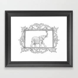 grey frame with elephant Framed Art Print